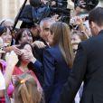 Le roi Felipe VI et son épouse la reine Letizia d'Espagne ont assisté à une rencontre avec des associations de victimes de terrorisme et ont participé à une cérémonie en mémoire des victimes, le 21 juin 2014 à Madrid au palais Zurbano