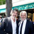 Franck Provost et son fils Fabien lors du déjeuner Père & Fils, mardi 24 juin 2014, aux Deux Magots à Paris.