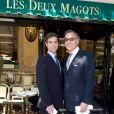 François Delahaye et son fils Nicolas lors du déjeuner Père & Fils, mardi 24 juin 2014, aux Deux Magots à Paris.