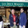 Gérard Garouste et son fils Guillaume lors du déjeuner Père & Fils, mardi 24 juin 2014, aux Deux Magots à Paris.