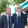 Jean-Marie Rossi et son fils Fritz lors du déjeuner Père & Fils, mardi 24 juin 2014, aux Deux Magots à Paris.