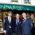 L'architecte Jean-Michel Wilmotte et ses fils Nelson et Harold lors du déjeuner Père & Fils, mardi 24 juin 2014, aux Deux Magots à Paris.