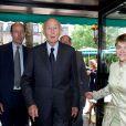 Louis, Valéry Giscard d'Estaing et Catherine Mathivat ors du déjeuner Père & Fils, mardi 24 juin 2014, aux Deux Magots à Paris.