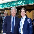 Pierre Bellemare-Dhostel et son fils Franklin lors du déjeuner Père & Fils, mardi 24 juin 2014, aux Deux Magots à Paris.