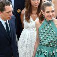 Gad Elmaleh et sa compagne Charlotte Casiraghi arrivent à la soirée pour l'inauguration du nouveau Yacht Club de Monaco au port Hercule, le 20 juin 2014.