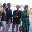 Pierre Casiraghi, sa compagne Beatrice Borromeo, Gad Elmaleh et sa compagne Charlotte Casiraghi arrivant à la soirée pour l'inauguration du nouveau Yacht Club de Monaco, Port Hercule, le 20 juin 2014.
