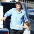 Exclusif - Ben Affleck, sa fille Seraphina et sa mère Chris sont allés prendre un petit déjeuner dehors à Brentwood, le 15 mai 2014