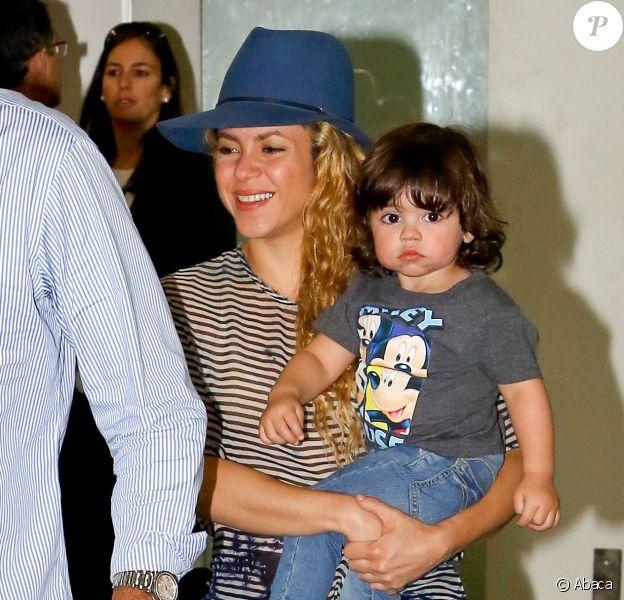 Shakira et son fils Milan arrivent à Rio le 9 juillet 2014.