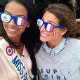 Les belles Laury Thilleman et Flora Coquerel complices. Les deux Miss lors du match de la coupe du monde de football qui a opposé la France à l'Allemagne. Vendredi 4 juillet 2014.