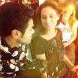 """Malika Ménard et Jamel Debbouze lors du tournage de la 7e saison du """"Jamel Comedy Club"""". Vendredi 4 juillet 2014."""