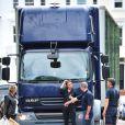 Abbey Clancy victime d'un accident de voiture après s'être fait rentrer dedans par un camion de déménagement, le 13 juillet 2014 à Londres