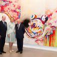 """Albert de Monaco, Farah Pahlavi et François Pinault - Vernissage de l'exposition """"ArtLovers - Histoires d'art dans la collection Pinault"""" au Grimaldi Forum le 15 juillet 2014."""