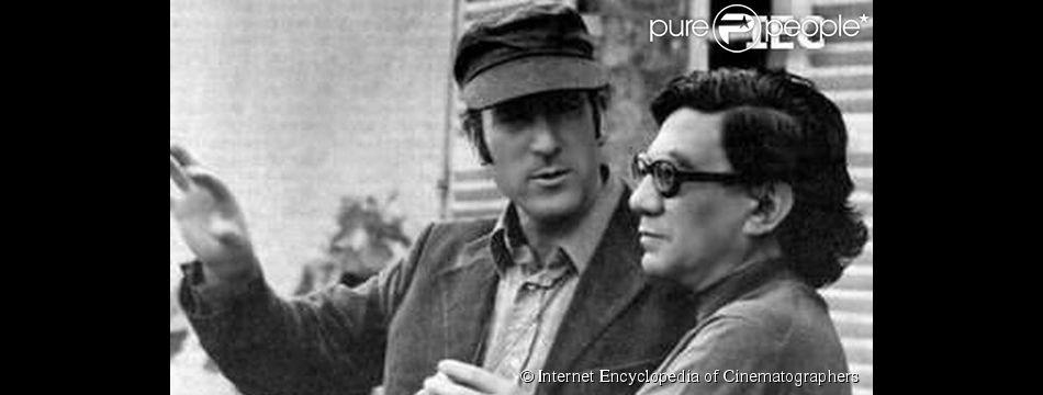 Henri Graziani (à droite) en compagnie de son directeur de la photographie Néstor Almendros sur le tournage de Poil de carotte (1972). (Crédit :   Internet Encyclopedia of Cinematographers )