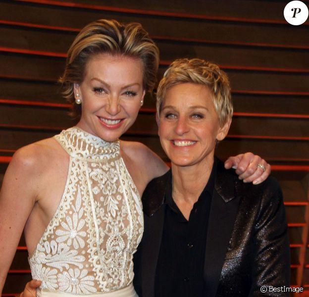 Ellen DeGeneres et Portia de Rossi lors de la soirée Vanity Fair après la 86e cérémonie des Oscars le 2 mars 2014 au The Sunset Plaza à West Hollywood