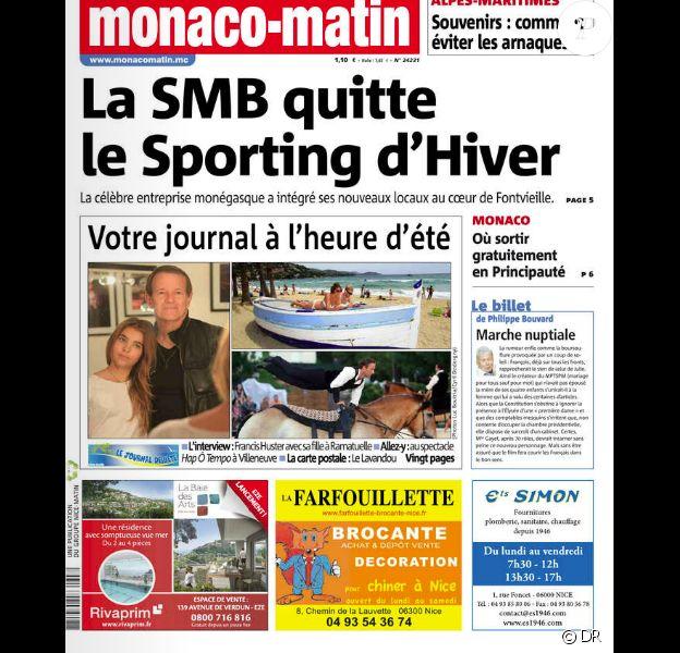 "Francis Huster et sa fille Toscane, en ""une"" du journal Nice/Monaco/Var Matin du 7 août 2014"