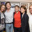Galia, Orlando, Palmade Pierre, Sylvie Rousseau et Jacques Demry dans les coulisses du spectacle Le fils du comique, lors du 30e Festival de Ramatuelle, le 7 août 2014.