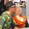 Exclusif - Jean-Roch en compagnie de sa mère lors du concert privé donné par Jean-Roch sur l'Eden Plage de Saint-Tropez, le 13 août 2014.