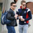 Exclusif – Le plongeur britannique Tom Daley et son petit ami Dustin Lance Black à Houston, le 11 décembre 2013.