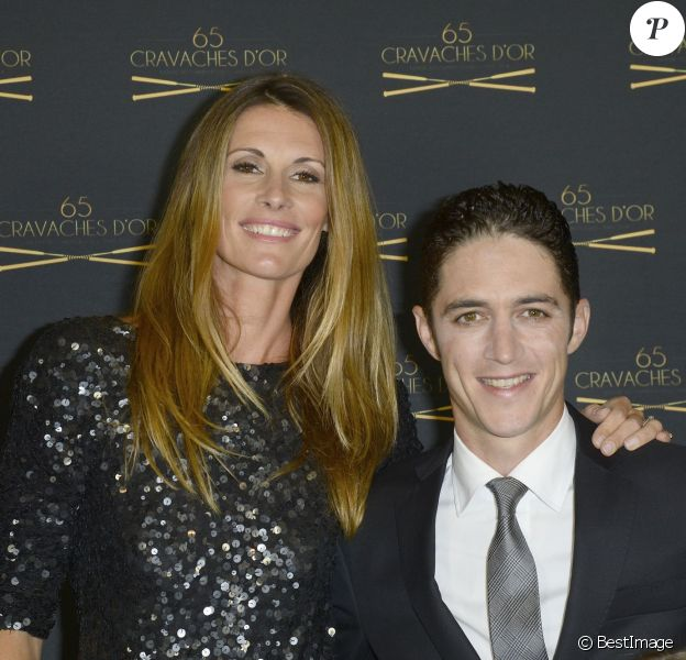 Sophie Thalmann, son mari Christopher Soumillon - 65e édition des Cravaches d'Or au Théâtre des Champs-Elysées à Paris le 14 mars 2014.