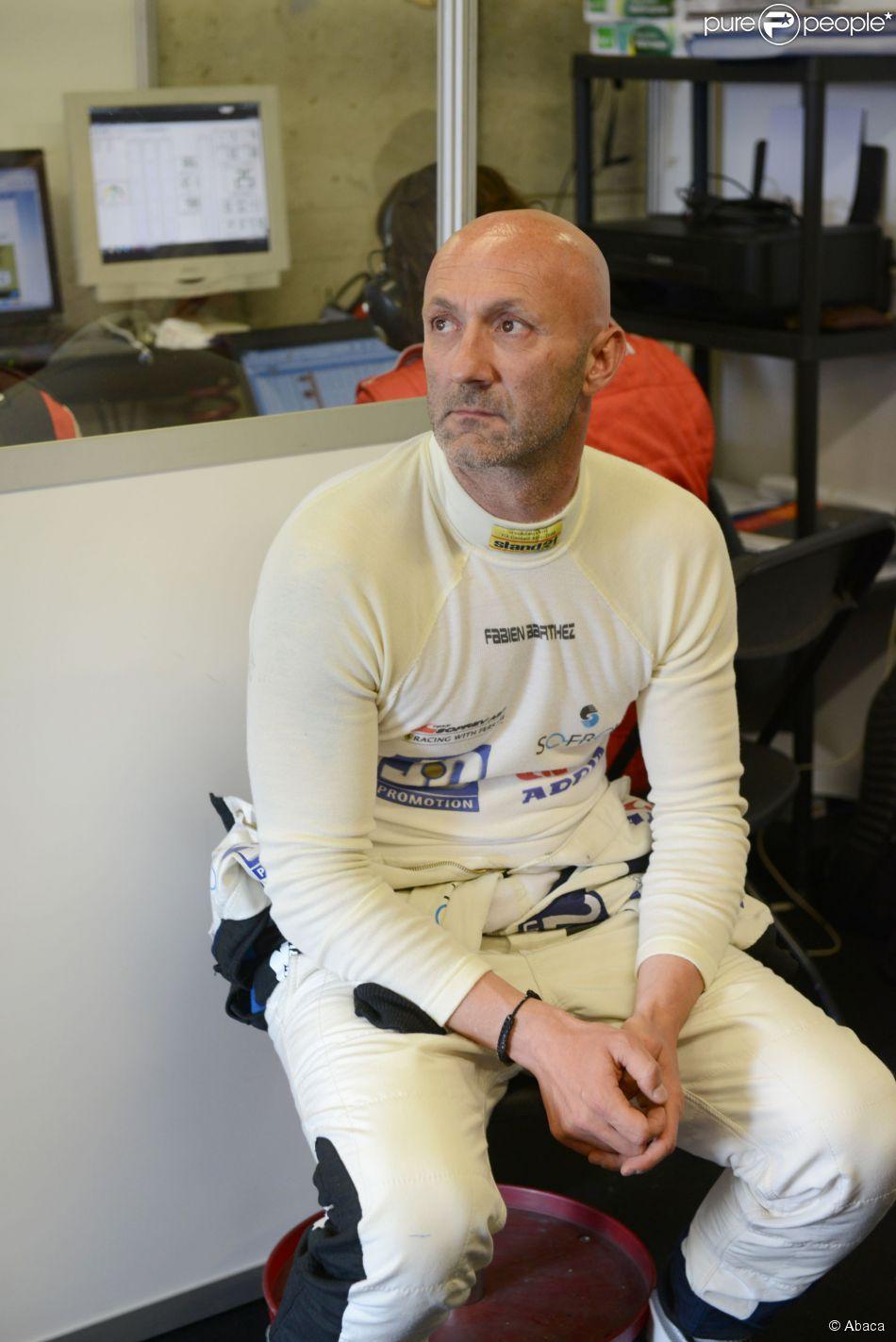 Fabien Barthez dans le box de l'écurie Ferrari lors des 24h du Mans, le 14 juin 2014