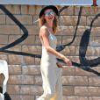 Behati Prinsloo tourne le nouveau clip du groupe Maroon 5 à Los Angeles. Le 30 août 2014.