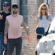 Adam Levine et sa femme Behati Prinsloo tournent le nouveau clip du groupe Maroon 5 à Los Angeles. Le 30 août 2014.