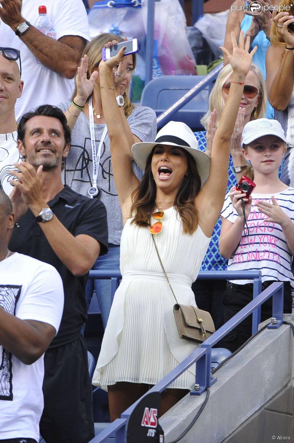 Eva Longoria, supportice comblée lors de la finale de l'US Open entre Serena Williams et Caroline Wozniacki, le 7 septembre 2014 à l'USTA Billie Jean King National Tennis Center de New York