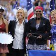 Caroline Wozniacki, Martina Navratilova, Serena Williams et Chris Evert après la finale de l'US Open, le 7 septembre à New York