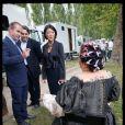 La ministre de la Culture Fleur Pellerin est venue sur le tournage de la nouvelle série historique de Canal+, Versailles, réalisée par Jalil Lespert - 4 septembre 2014