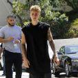 Justin Bieber est allé déjeuner avec un ami à Los Angeles, le 22 aout 2014.
