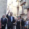 Le roi Felipe VI et la reine Letizia d'Espagne à Malaga le 5 septembre 2014 pour une visite du Musée Picasso et l'inauguration du XIXe Forum Spain-Etats-Unis.