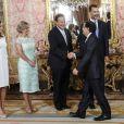 Le roi Felipe VI et son épouse la reine Letizia d'Espagne recevaient le 8 septembre 2014 à déjeuner au palais du Pardo, à Madrid, le président du Panama, Juan Carlos Varela, et sa femme la journaliste Lorena Castillo.