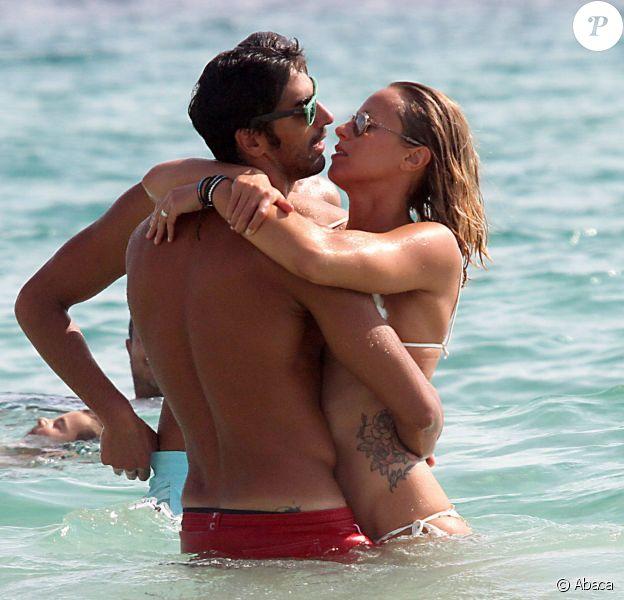 Federica Pellegrini et Filippo Magnini, amoureux lors de leurs congés à Formentera dans les Baléares, le 6 septembre 2014