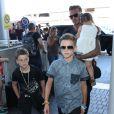 David, Harper, Cruz et Romeo Beckham à l'aéroport de Los Angeles. Le 29 août 2014.