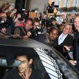 Kanye West et Kim Kardashian quittent l'Intercontinental à l'issue du défilé Balmain printemps-été 2015. Paris, le 25 septembre 2014.
