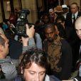 Kanye West et Kim Kardashian arrivent au Grand Hôtel de Paris pour assister au défilé Balmain printemps-été 2015. Paris, le 25 septembre 2014.