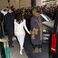 Kim Kardashian et Kanye West quittent l'Intercontinental à l'issue du défilé Balmain printemps-été 2015. Paris, le 25 septembre 2014.