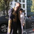 Kim Kardashian et Kanye West, de retour au Royal Monceau après leur après-midi fort en émotions. Paris, le 25 septembre 2014.