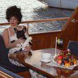 Lady Gaga et son chien Asia ont quitté leur hôtel pour aller faire une croisière dans les archipels de Stockholm. Le 2 octobre 2014.