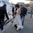 Lady Gaga passe la journée sur le yacht M/Y Mercedita à Stockholm, le 1er octobre 2014.