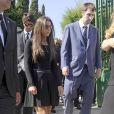 Ana Boyer et le joueur de tennis Fernando Verdasco - Obsèques de l'ancien ministre de l'économie espagnol Miguel Boyer, le mari d'Isabel Preysler, à Madrid le 30 septembre 2014