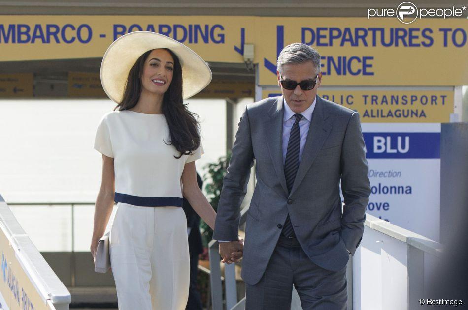 Les mariés George Clooney et Amal Alamuddin quittant Venise, le 29 septembre 2014 après leur mariage civil