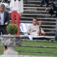 George Clooney et Jean Dujardin tournent la nouvelle publicité Nespresso à Cernobbio, le 28 août 2014.
