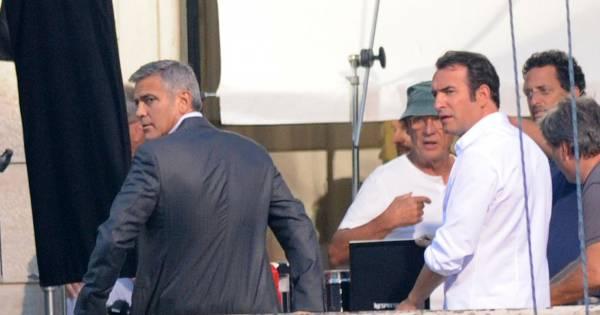 George clooney et jean dujardin tournent la nouvelle publicit nespresso cernobbio le 27 ao t - Jean dujardin et george clooney ...