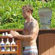 Jenson Button lors de ses vacances avec sa fiancée Jessica Michibata sur l'île de Maui à Hawaï, le 20 octobre 2014