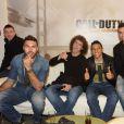 Salvatore Sirigu, David Luiz, Marquinhos, Javier Pastore du PSG lors de la soirée de lancement de Call of Duty : Advances Warfare, le 3 novembre 2014 à Paris