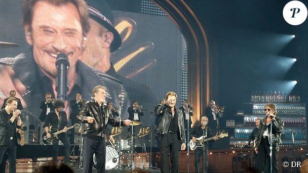 Eddy Mitchell, Johnny Hallyday et Jacques Dutronc - Premier concert des Vieilles Canailles au Palais Ominisports de Paris Bercy, le 5 novembre 2014.