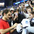 Roger Federer lors de son match face à Andy Murray lors du Masters de Londres le 13 novembre 2014 à l'O2 Arena de Londres