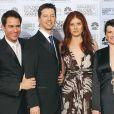 Eric McCormack, Sean Hayes, Debra Messing et Megan Mullally, les héros de Will & Grace, le 16 janvier 2006 à la 63e cérémonie des Golden Globe Awards à Los Angeles