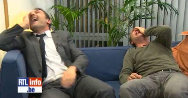 Gilles lellouche et jean dujardin ont un fou rire en for Pere de jean dujardin